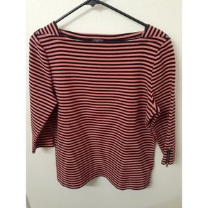 Talbots striped boat neck top